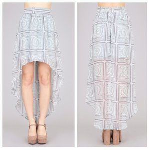Umgee Tribal Hieroglyph High Low Maxi Skirt